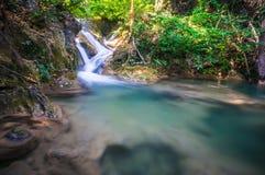 Piękna mała siklawa, Erawan park narodowy, Kanchanaburi, T Obraz Royalty Free