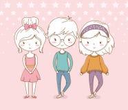 Piękna małe dziecko grupa z kropkowanym tłem royalty ilustracja