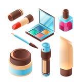 Piękna makeup akcesorium Różowej pomadki oka cienia palety zbiornika fachowy plastikowy wektor isometric ilustracja wektor