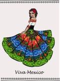 Piękna Meksykańska dancingowa kobieta royalty ilustracja