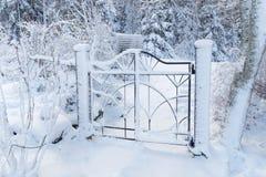 Piękna metal brama zakrywająca z śniegiem obrazy stock