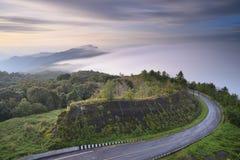Piękna mgła płynie dalej przy doi inthanon Chiang mai fotografia royalty free