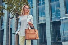 Piękna modna kobieta w elegancki odzieżowym i szkła z torebką, stoi przeciw drapaczowi chmur zdjęcie stock
