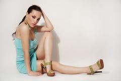 piękna mody dziewczyny wakacyjny makeup portret seksowny zdjęcia royalty free