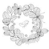 Piękna monochromów kwiatów rama z ptakiem również zwrócić corel ilustracji wektora Fotografia Royalty Free