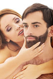 Piękna namiętna naga para w miłości Zdjęcia Royalty Free