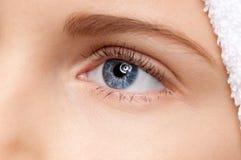 piękna niebieskiego oka dziewczyna uzupełniająca strefa Obrazy Royalty Free