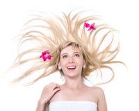 Piękna niespodzianki młoda kobieta, odizolowywająca na bielu obrazy royalty free
