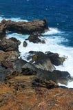 Piękna Niewygładzona wybrzeże linia Wzdłuż Południowej porady Aruba Obrazy Stock