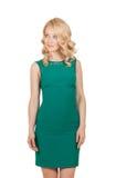 Piękna, nikła blondynki kobieta w zieleni sukni, Zdjęcia Royalty Free