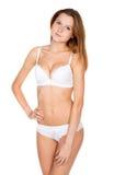 Piękna nikła dziewczyna w bieliźnie Zdjęcia Royalty Free