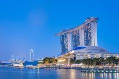 Piękna noc przy marina zatoką, Singapur Fotografia Stock