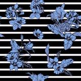 Piękna nowożytna ręka rysujący błękit kwitnie bezszwowego deseniowego wektor ilustracji