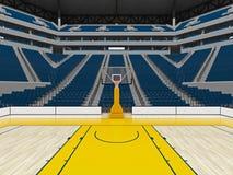 Piękna nowożytna sport arena dla koszykówki z błękitnymi siedzeniami Zdjęcia Stock