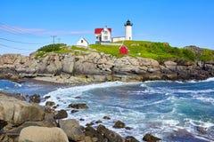 Piękna Nubble latarnia morska w Maine stanie na wschodnim wybrzeżu usa Obrazy Royalty Free