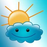 piękna obłoczna śliczna ilustracja uśmiechał się słońce Zdjęcie Stock