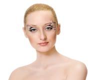piękna odosobniony portreta biel makijaż twórczej Zdjęcie Stock