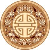 Piękna Orientalna różyczka z ptakami i kwiatami Obrazy Royalty Free