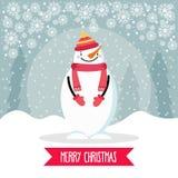 Piękna płaska projekt kartka bożonarodzeniowa z bałwanem ilustracja wektor