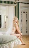 Piękna panna młoda jest ubranym bieliznę i przesłonę na dniu ślubu Zdjęcie Royalty Free