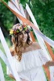 Piękna panna młoda podczas ślubnej ceremonii Fotografia Royalty Free