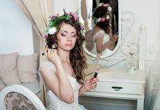 Piękna panny młodej brunetka z makeup Obraz Stock