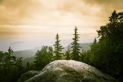Piękna panorama jezioro i las od Kola parka narodowego osiąga szczyt Zdjęcia Royalty Free