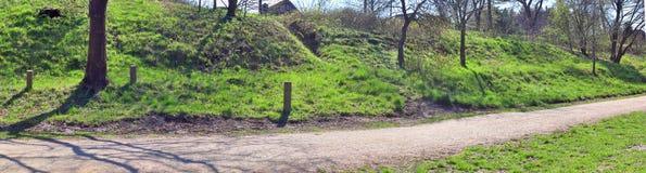 Piękna panorama wiosna krajobrazy z zieloną trawą i jasnym niebieskim niebem fotografia stock