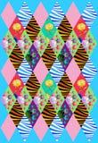 Piękna patchwork pokrywa od kolorowych rhombus łat Zdjęcie Stock