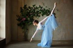 Piękna pełen wdzięku dziewczyny balerina w błękit sukni tanu w punkcie obrazy royalty free