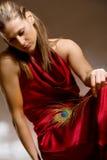 piękna piórkowa ręki pawia kobieta Zdjęcie Royalty Free