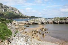Piękna piaskowata plaża w Cantabria, Hiszpania Fotografia Stock