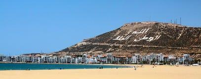 Piękna plaża Agadir, Maroko (,) Obraz Stock