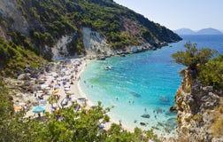 Piękna plaża - Agiofili, Lefkada, Grecja Fotografia Stock