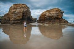 Piękna plaża Jako Catedrais w Galicia w Hiszpania Fotografia Stock