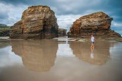 Piękna plaża Jako Catedrais w Galicia w Hiszpania Zdjęcie Royalty Free