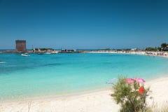 Piękna plaża na południowym wybrzeżu Włochy zdjęcie stock