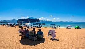 Piękna plaża w Jeziornym Tahoe, Kalifornia Fotografia Stock