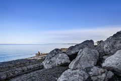 Piękna plaża w zatoce, Quebec Kanada obraz stock