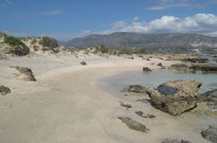 Piękna plażowa Elafonisi, Crete wyspa - Fotografia Royalty Free