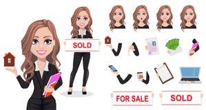 Piękna pośrednik handlu nieruchomościami kobieta Agent nieruchomości royalty ilustracja