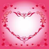 Piękna pocztówka dzień święty valentine, piękna czerwień i menchia wzór, royalty ilustracja