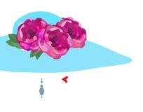 Piękna pojęcie, logo, Naturalny kosmetyk, piękno salon, kobiety ` s kapelusz z kwiatami, Wektorowa ilustracja Zdjęcie Royalty Free