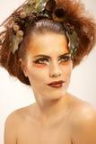 Piękna portreta kobieta w jesień makeup Obraz Royalty Free