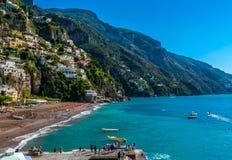 Piękna Positano Włochy plaża Fotografia Stock