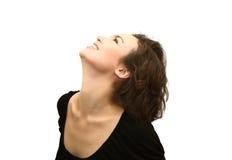 piękna profilowa uśmiechnięta kobieta obrazy royalty free