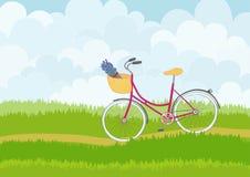 Piękna prosta kreskówki łąka z różowym miasto rowerem na nieba tle Fotografia Stock
