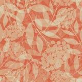 Piękna przejrzysta ręka rysujący rowan rozgałęzia się narzuty teksturę Bezszwowy wektoru wzór na pomarańczowym tle z Wielkim royalty ilustracja