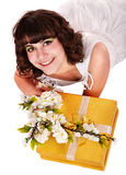piękna pudełkowata kwiatu prezenta dziewczyny czerwień Fotografia Stock