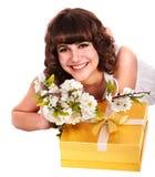 piękna pudełkowata kwiatu prezenta dziewczyny czerwień Zdjęcie Stock